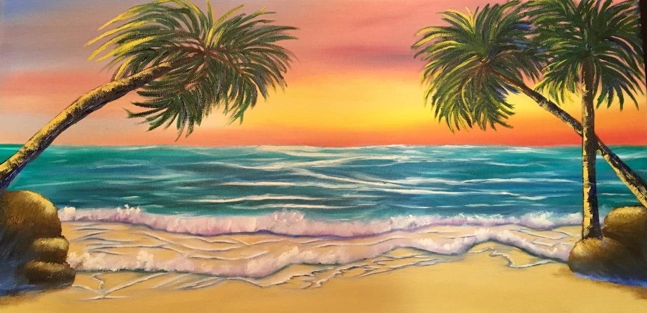 Beach Sunset Oil Painting
