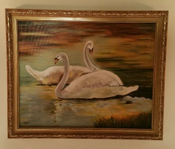Love Swans Watercolor Canvas